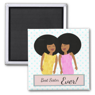 Black Twin Sisters Square Magnet