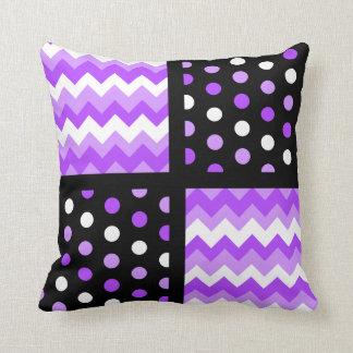 Black/Two-Tone Ultraviolet/White Chevron/Polkadot Throw Pillow