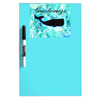 black underwater whale blue dry erase board