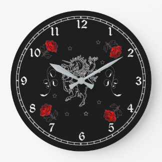 Black Unicorn and Roses Fantasy Art Wall Clock