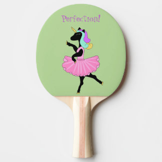 Black Unicorn Ballerina Dancing Ping Pong Paddle