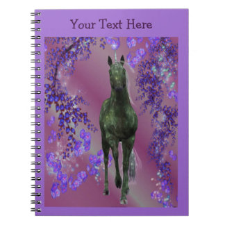 Black Unicorn Fantasy Horse Notebook