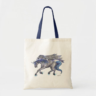 Black Unicorn Flying Leaping Jumping Blue Tote Bag