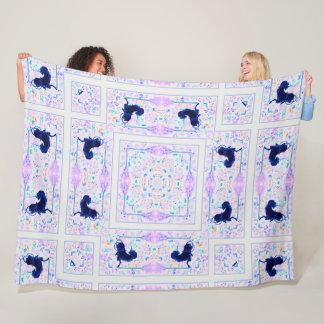 Black Unicorn Magical Mandala Quilt Fleece Blanket