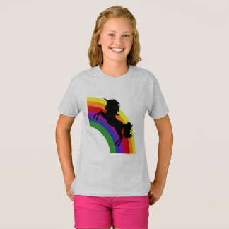 Black Unicorn Silhouette with Rainbow Girl's Shirt