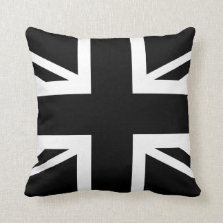Black Union Jack British (UK) Country Flag Throw Pillows