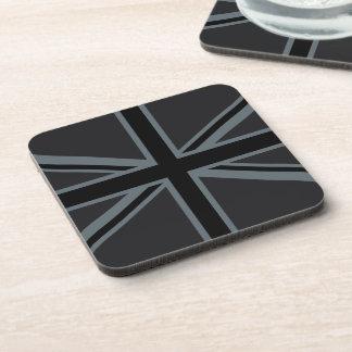 Black Union Jack Flag Design Drink Coasters
