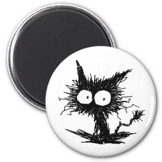 Black Unkempt Kitten 2 Inch Round Magnet