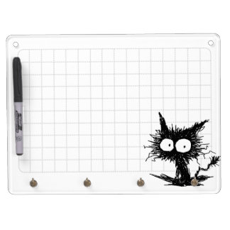 Black Unkempt Kitten GabiGabi Grid White Dry Erase Board With Keychain Holder