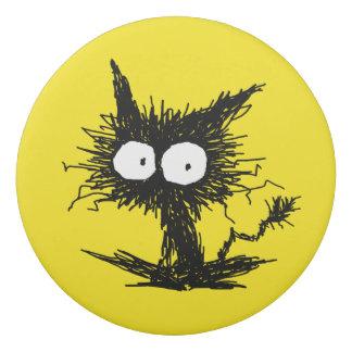 Black Unkempt Kitten GabiGabi Yellow Eraser