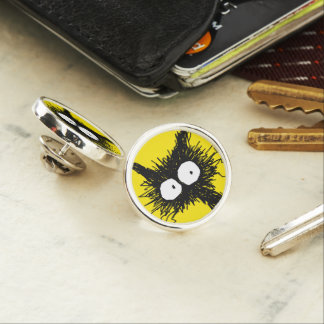 Black Unkempt Kitten GabiGabi Yellow Lapel Pin