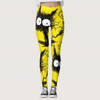 Black Unkempt Kitten GabiGabi Yellow Leggings