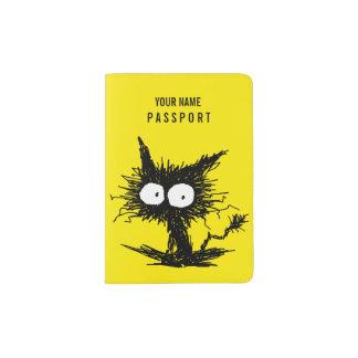 Black Unkempt Kitten Yellow Passport Holder