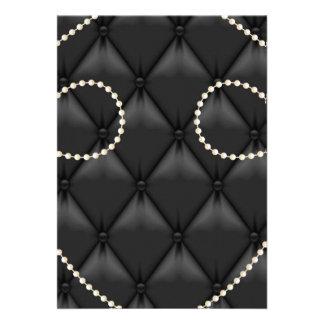Black Upholstery Pearls Invitation