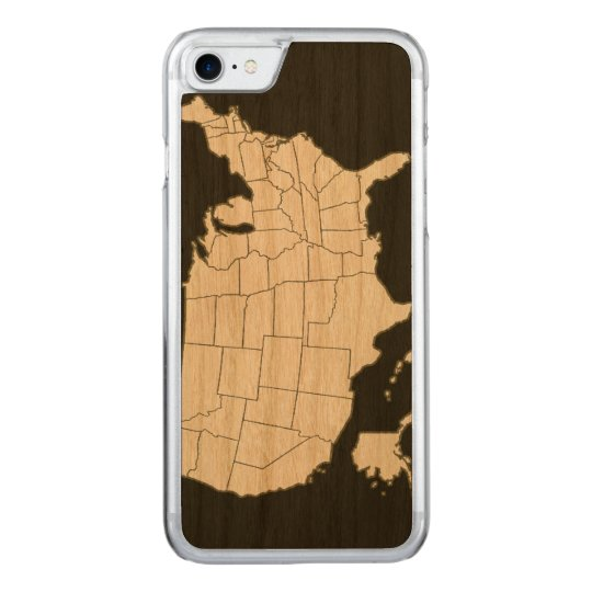 black USA map Carved iPhone 8/7 Case