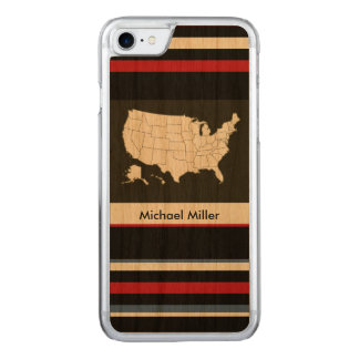 black USA map with stripes Carved iPhone 7 Case