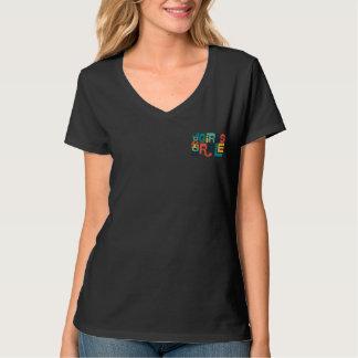 Black V Neck Shirt with Multi-color Logo