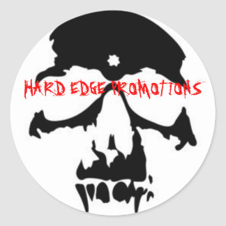 BLACK VAMPIRE SKULL, HARD EDGE PROMOTIONS CLASSIC ROUND STICKER