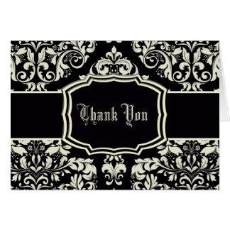 Black & Vanilla Cream Damask Card