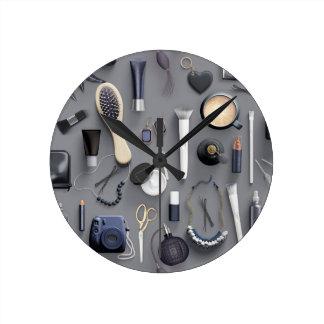 Black Vanity Table Round Clock