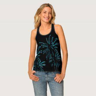 Black Velvet Neon Palm Tree Tropical Summer Night Tank Top