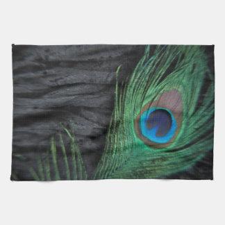 Black Velvet Peacock Feather Still Life Towel