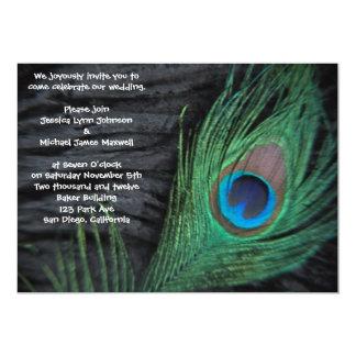 Black Velvet Peacock Wedding Invitation