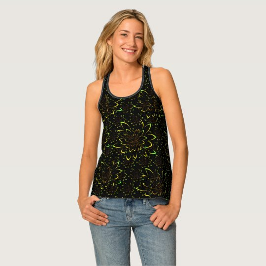 Black Velvet Tropical Flower Pattern Colours Tank Top
