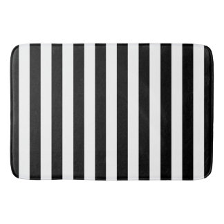Black Vertical Stripes Bath Mat