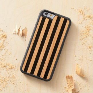 Black Vertical Stripes Carved Cherry iPhone 6 Bumper Case