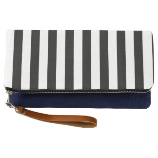 Black Vertical Stripes Clutch