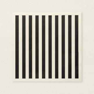 Black Vertical Stripes Disposable Napkin
