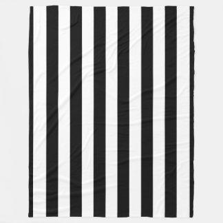Black Vertical Stripes Fleece Blanket