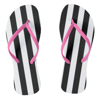 Black Vertical Stripes Flip Flops