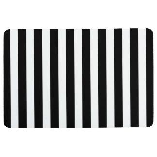 Black Vertical Stripes Floor Mat