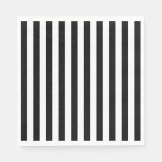 Black Vertical Stripes Paper Napkins