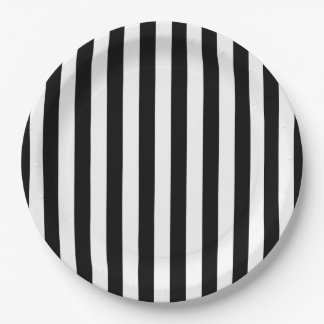 Black Vertical Stripes Paper Plate