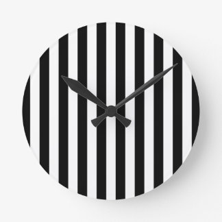 Black Vertical Stripes Round Clock