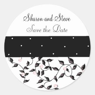 Black Vines Save the Date Classic Round Sticker