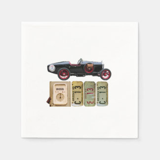 Black Vintage Car Paper Napkins
