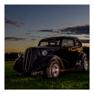 Black Vintage Car Perfect Poster Gloss