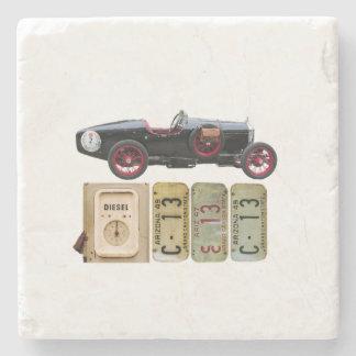 Black Vintage Car Stone Beverage Coaster