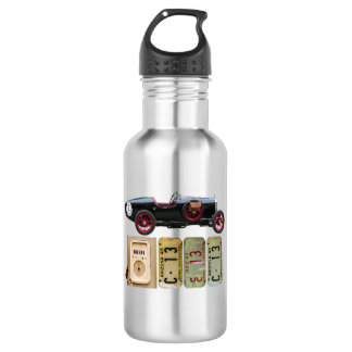 Black Vintage Car with Red Wheels 532 Ml Water Bottle