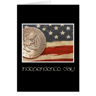black vintage coin on flag Independence day greeti Card