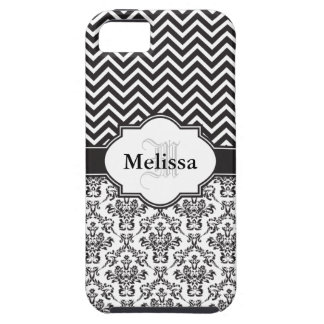 Black Vintage Damask Cute Chevron Pattern Case For The iPhone 5