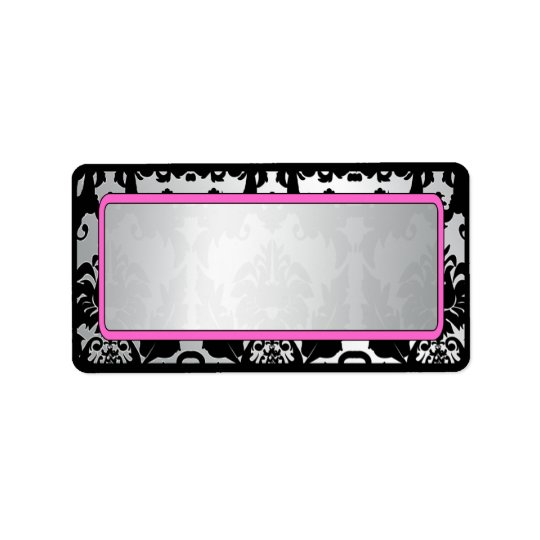 Black Vintage Damask Pink & Silver Address Label
