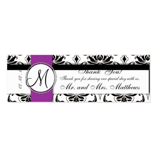 Black Vintage Damask Purple Wedding Favor Tag Business Card Templates