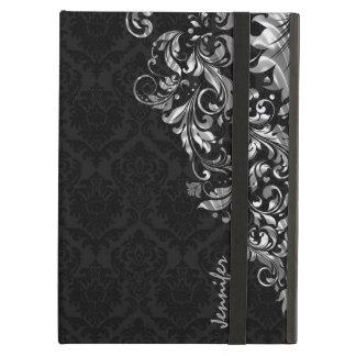 Black Vintage Damasks & Metallic Silve Floral Lace iPad Air Case