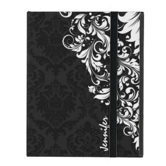 Black Vintage Damasks & White Floral Lace iPad Case