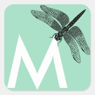 Black Vintage Dragonfly Nature Art Square Sticker